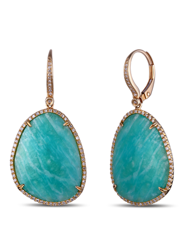 """AMAZONITE EARRINGS BY DABAKAROV"