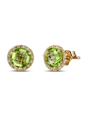 """PERIDOT EARRINGS BY DABAKAROV"