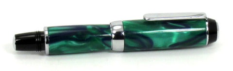Green with Blue Ribbon on Fountain Pen - Timber Creek Turnings
