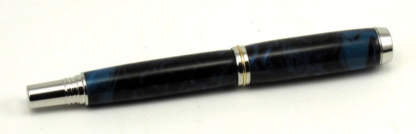 Black & Blue Swirl Acrylic on Fountain Pen - Timber Creek Turnings