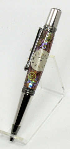 Twist Pen with Watch Parts over Abalone Shell