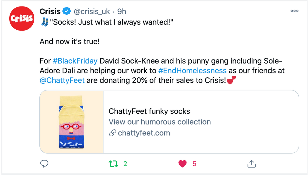 Charity socks - Donation to Crisis by ChattyFeet