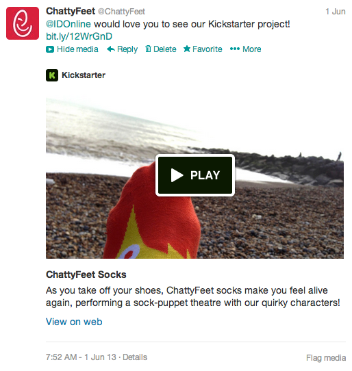 A tweet about ChattyFeet on Kickstarter