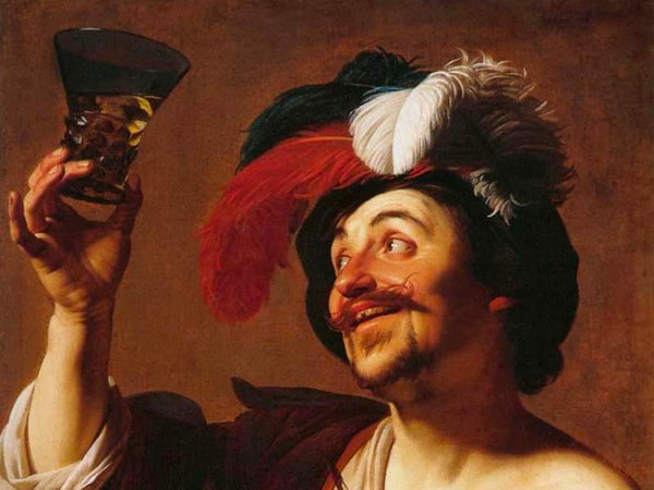 "Funny Painting ""The Happy Violinist with a Glass of Wine"""