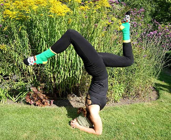 Pincha Maruyasana Yoga Pose with Frida Callus socks