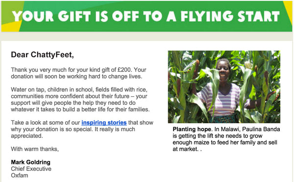 Donating Money to Oxfam