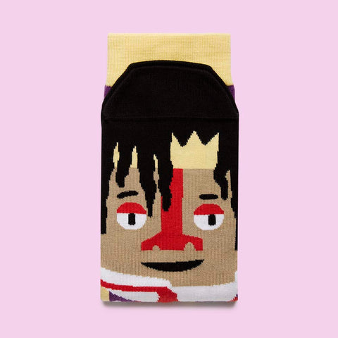 Funny socks with artists - Basquiatoe design