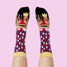 Artist Gifts - Basquiatoe funny socks by ChattyFeet