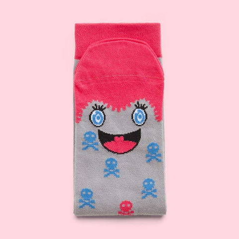 Crazy unisex socks - Illustrated pink character - Miko