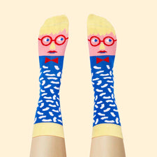 Funky art socks - Illustrated character design - David Sock-Knee