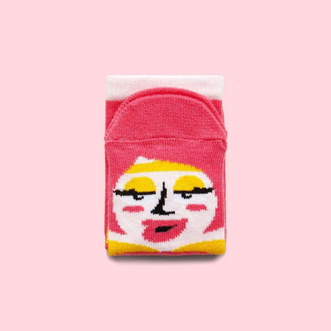 Novelty Kids Socks - Illustrated Pink Character - Venus