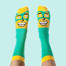 Illustrated funky character socks - Commander Awesome