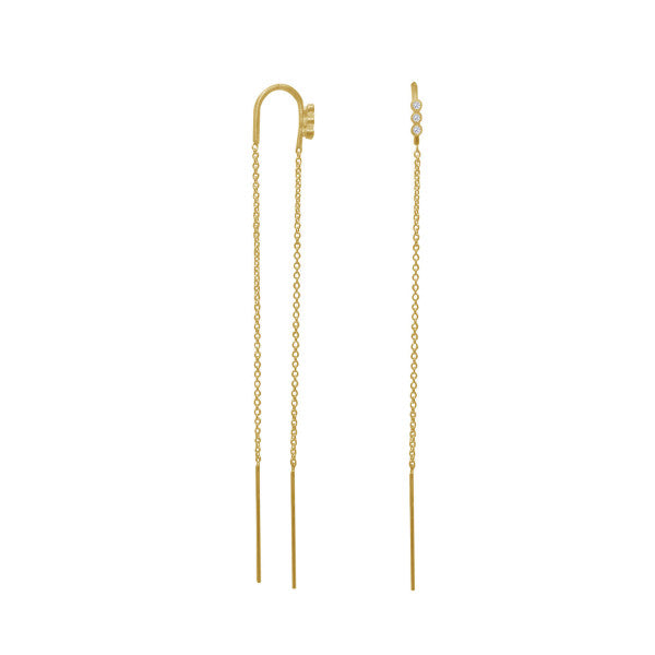 Stina A Three Dots Double Chain Earring Piece - Gold