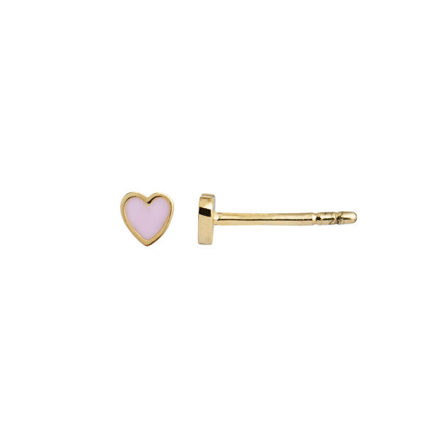 Stine A Petit Love Heart Light Pink Enamel - Gold