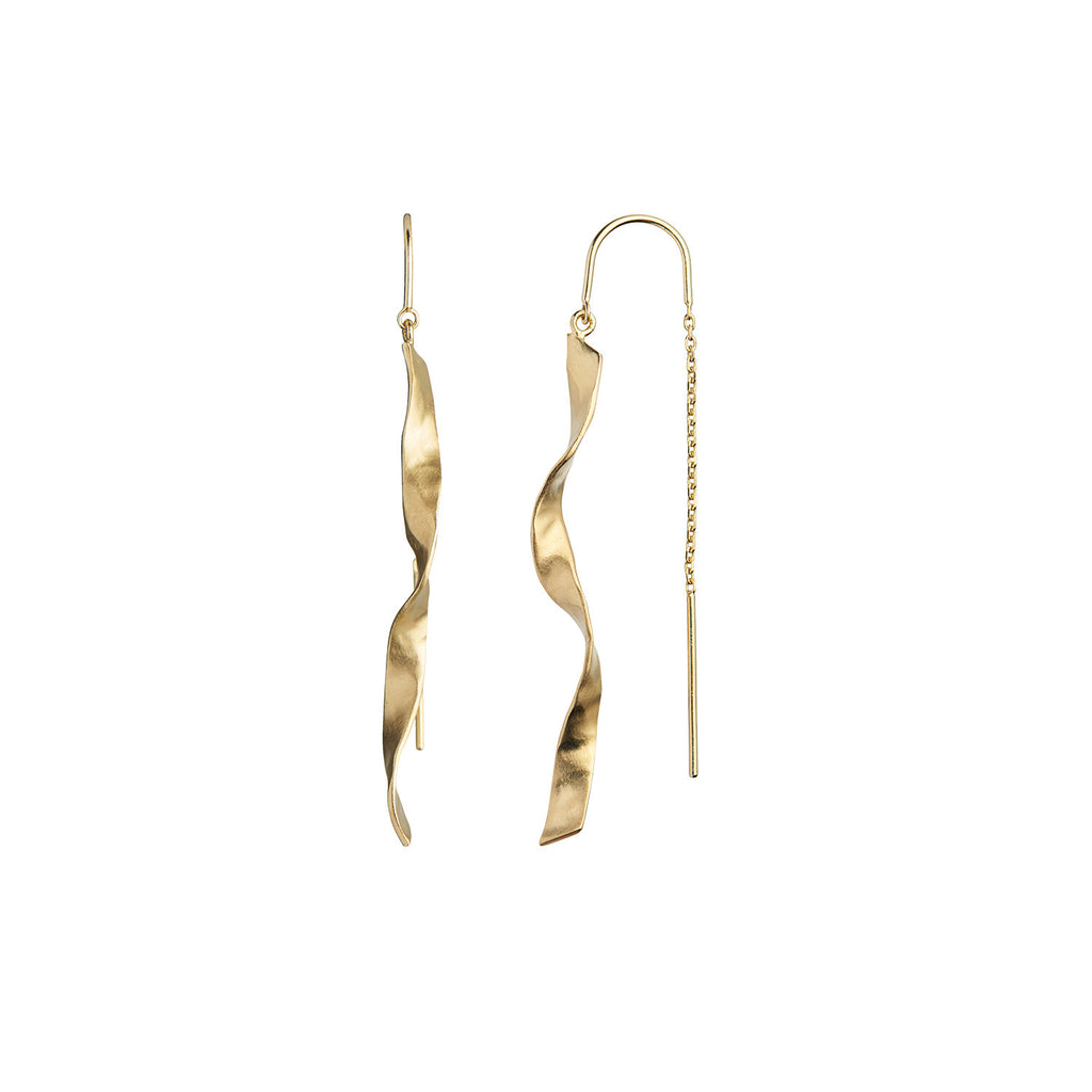 Stine A, Long Twisted Hanging Earring Gold