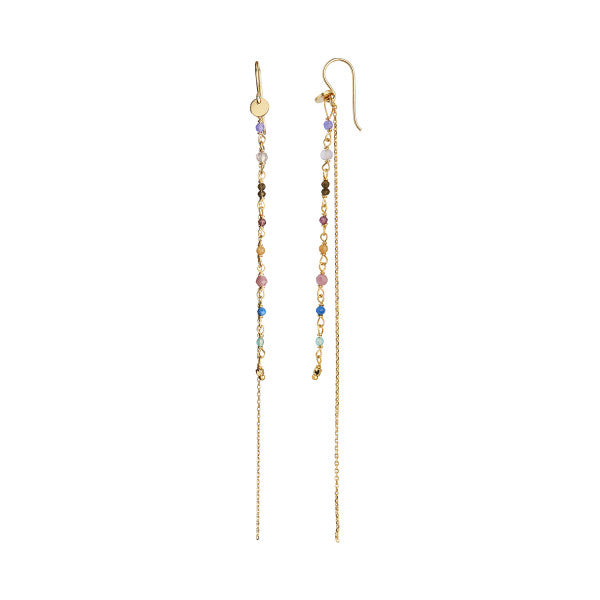 Stina A Petit Gemstones with Long Chain Earring Gold - Berry Mix