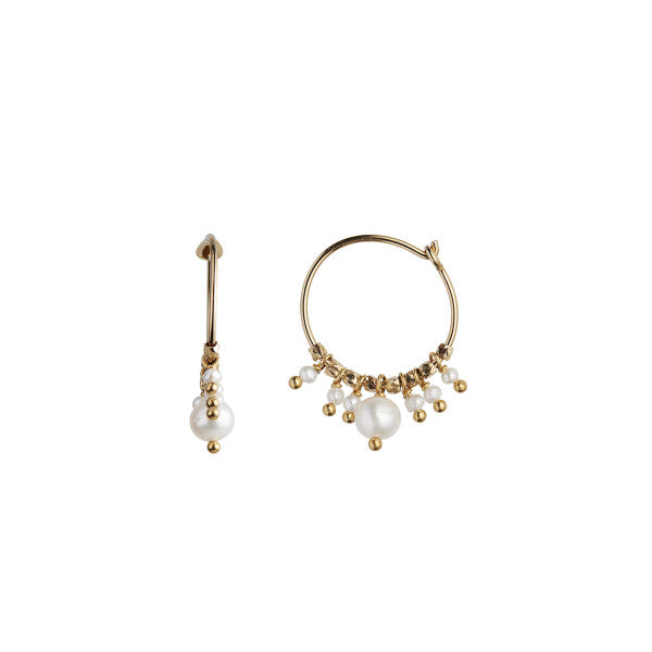 Stine A Petit Hoop with White Pearls Earring - Gold