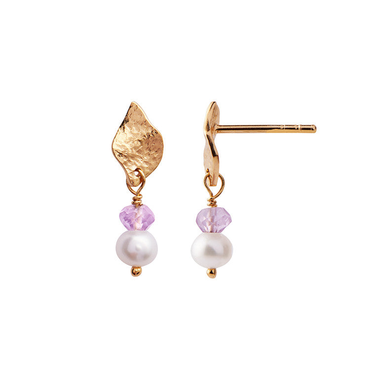 Stine A Ile De L´amour with Pearl and Light Amethyst Earring Gold