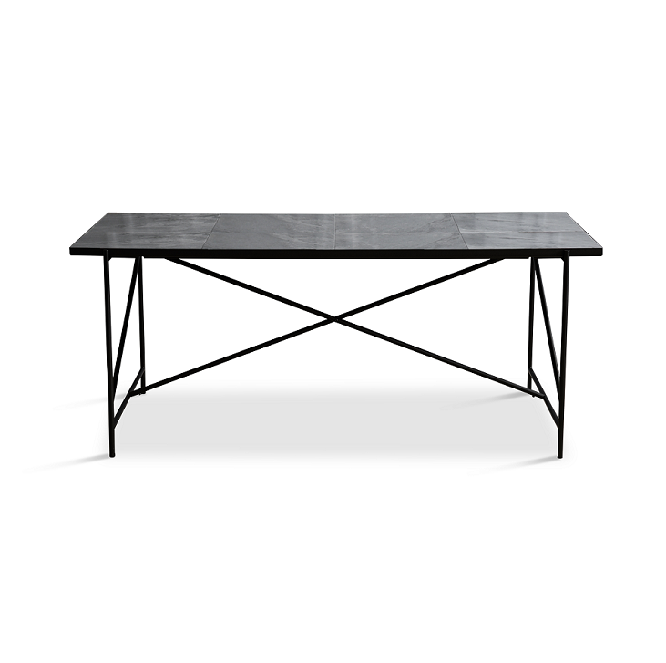 Handvärk Dinning Table L185 cm - Sort Stel/Grå Marmor