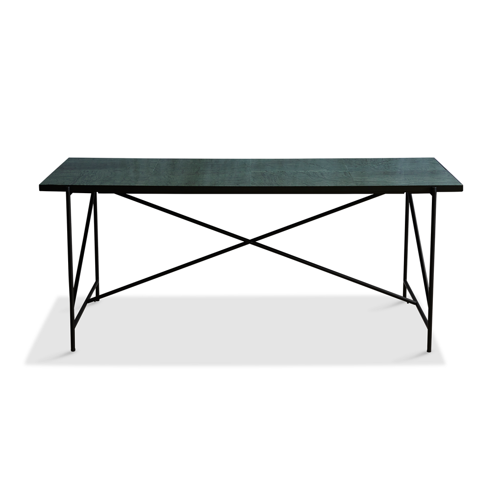 Handvärk Dinning Table L185 cm - Sort Stel/Grøn Marmor
