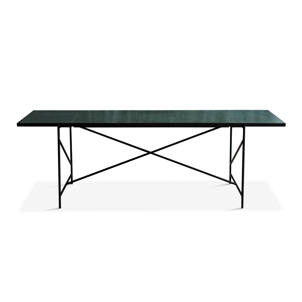 Handvärk Dinning Table L230 cm - Sort Stel/Grøn Marmor