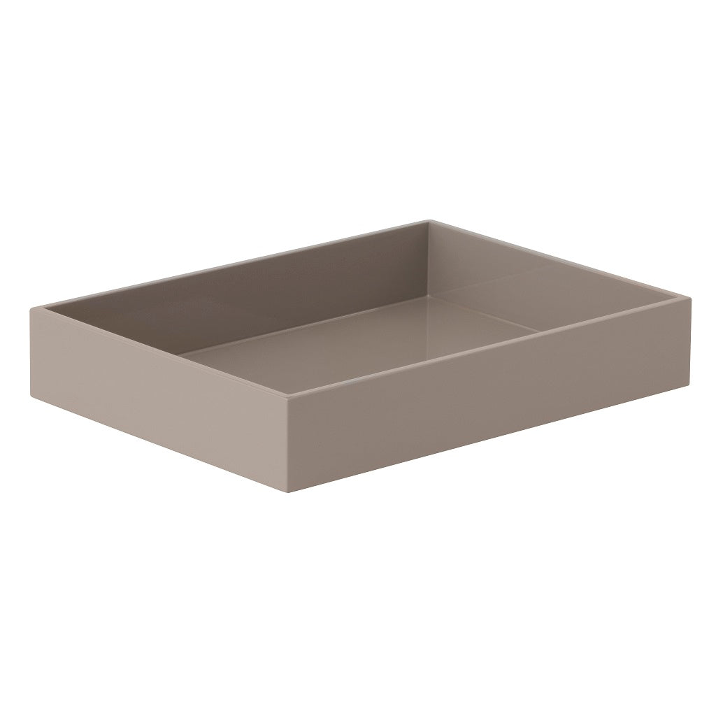 Bungalow, Lacquer Rectangular Tray - Grey