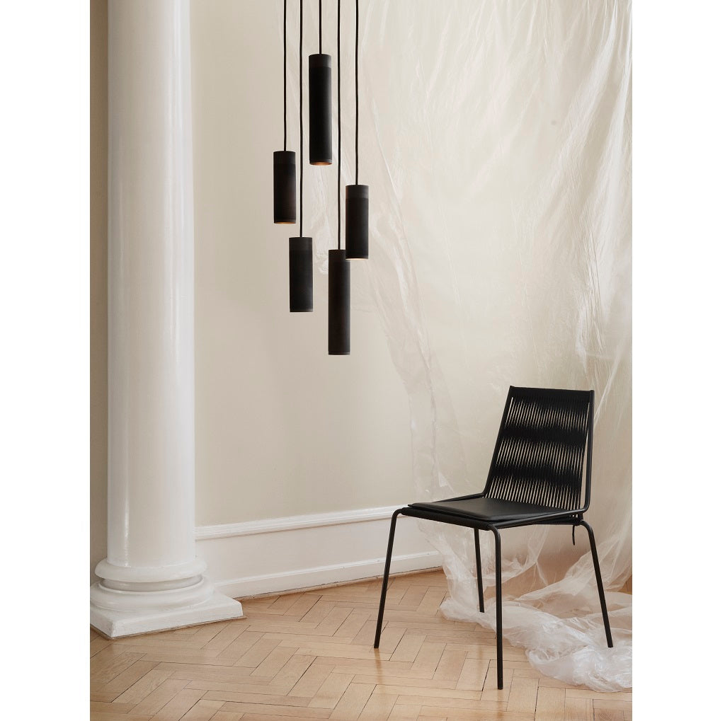 Thorup Copenhagen Pendant cluster brown brass, Noel Chair black