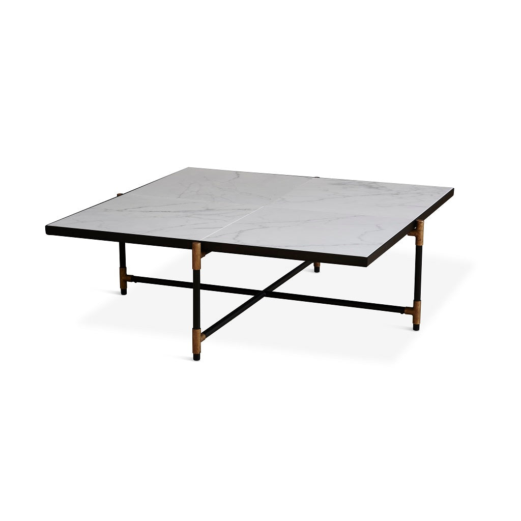 Handvärk Coffee Table Sofabord 90 - Messing/Hvid Marmor