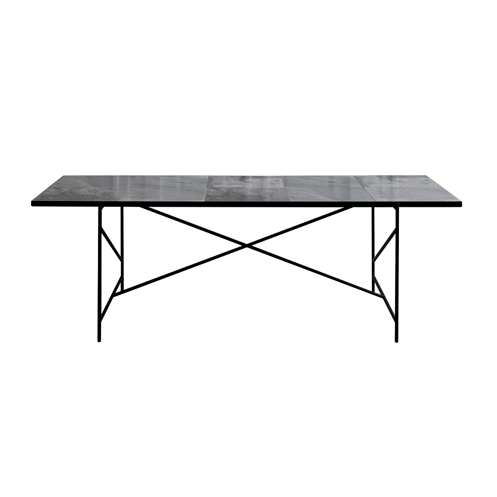 Handvärk Dinning Table L230 cm - Sort Stel/Grå Marmor
