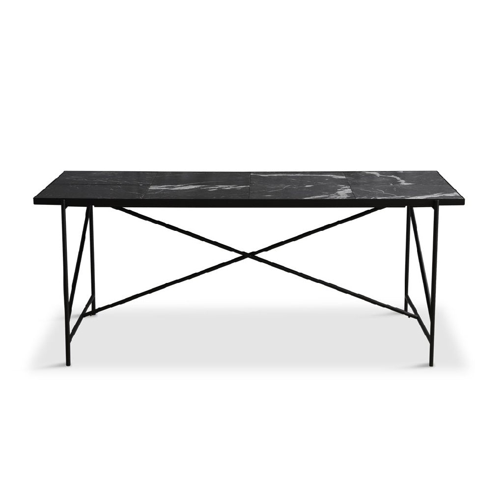 Handvärk Dinning Table L185 cm - Sort Stel/Sort Marmor