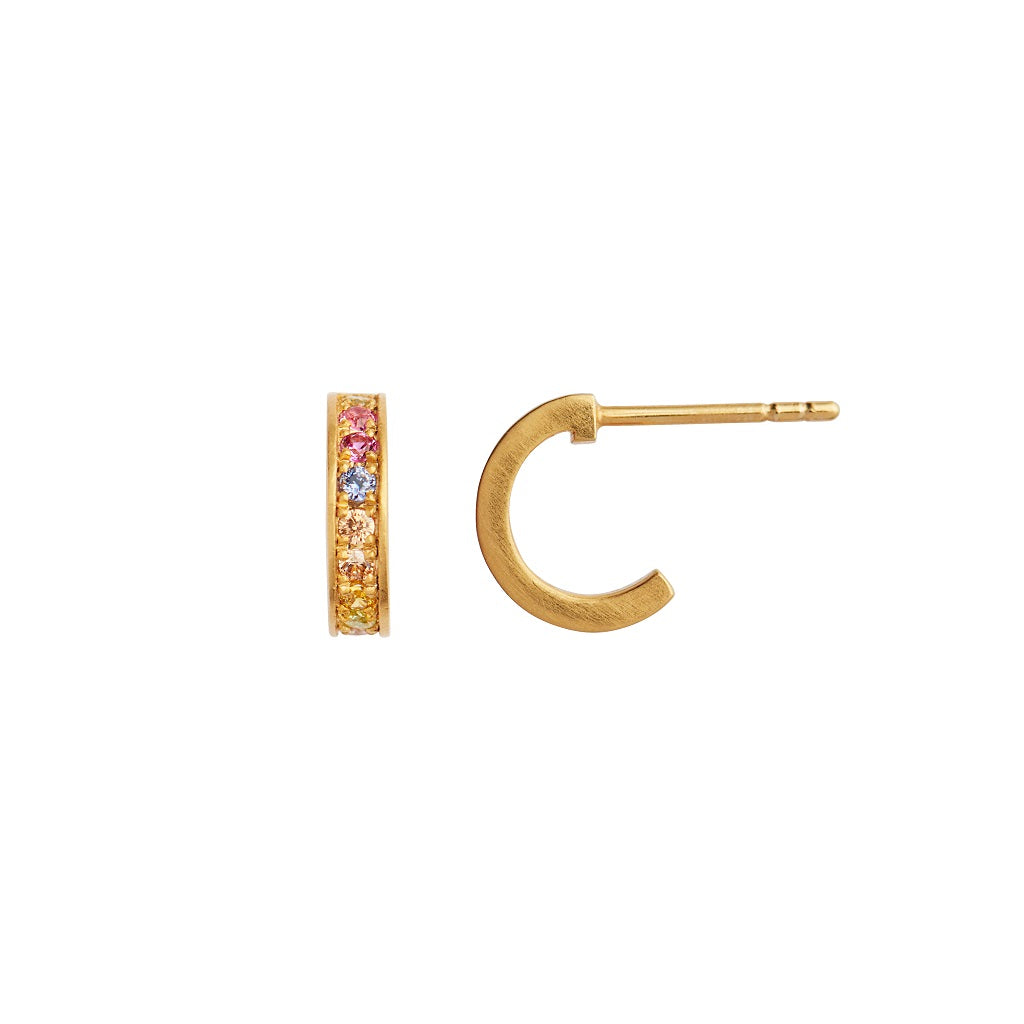 Stine A Petit Candy Creol m/Soft Pastel Stones Earrring - Gold