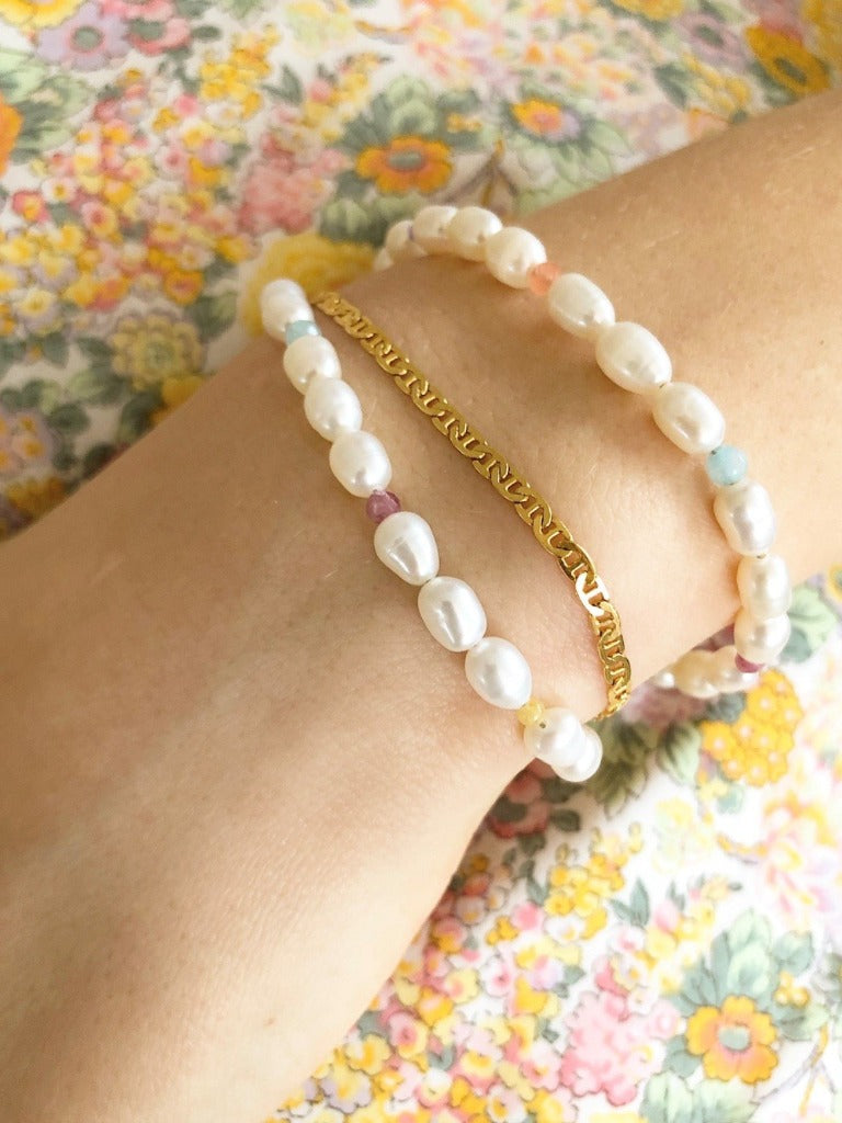Stine A White Pearls and Candy Stones Bracelet