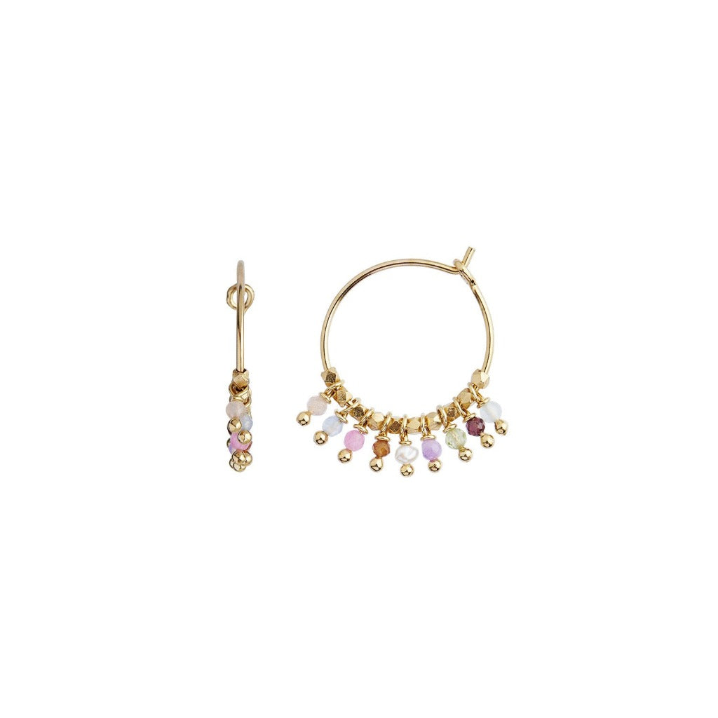 Stine A Petit Rainbow Hoop Gold with Stones - Pastel Mix