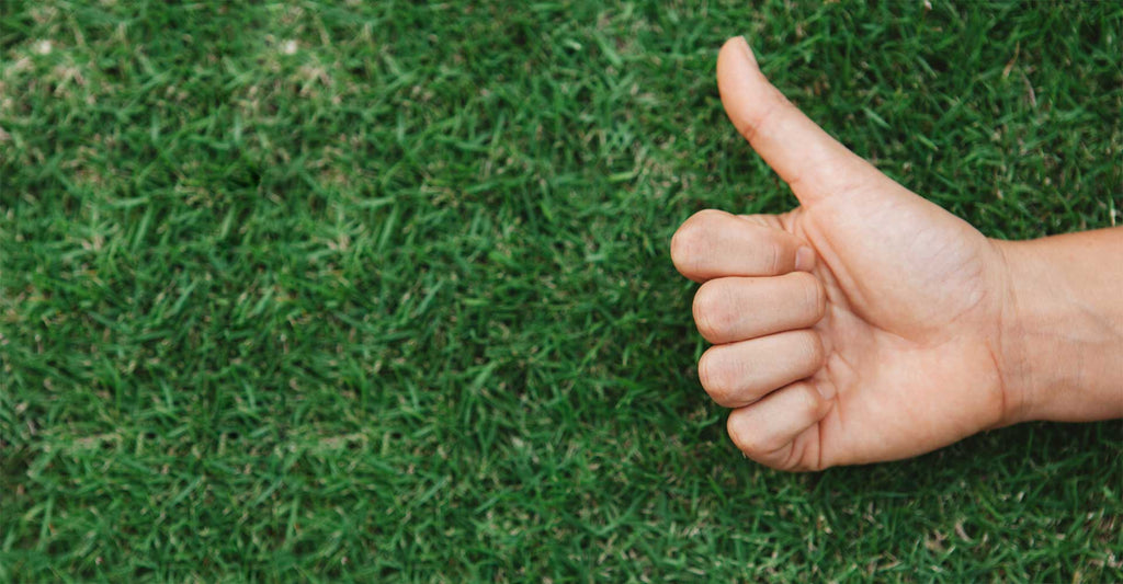 man hand thumbs up and artificial grass background