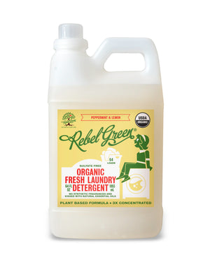 Mother Nature's Best Market Rebel Green Fresh Laundry Detergent: Peppermint & Lemon Cruelty-Free, Organic, Reusable/Recyclable, Vegan