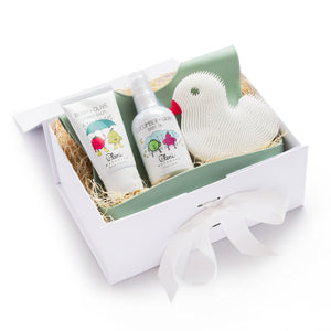 Mother Nature's Best Market Green + White Baby Gift Set