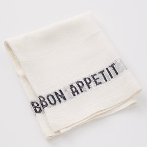Mother Nature's Best Market Charvet Editions Bon Appetit Napkin, White + Black Organic, Reusable/Recyclable