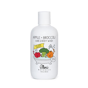 Mother Nature's Best Market Pleni Naturals Apple + Broccoli Hair and Body Wash All-Natural, Cruelty-Free, Gluten-Free, Reusable/Recyclable, Vegan
