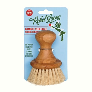 Mother Nature's Best Market Rebel Green Bamboo Vegetable Scrub Brush Cruelty-Free, Organic, Reusable/Recyclable, Vegan