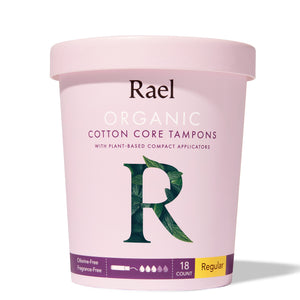 Mother Nature's Best Market Rael Organic Cotton Core Tampons with Plant Based Compact Applicators, Regular Cruelty-Free, Vegan