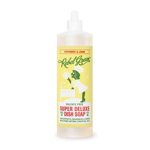 Mother Nature's Best Market Rebel Green Super Deluxe Dish Soap: Peppermint & Lemon Cruelty-Free, Organic, Reusable/Recyclable, Vegan