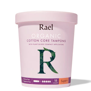 Mother Nature's Best Market Rael Organic Cotton Core Tampons with Plant Based Compact Applicators, Super Plus Cruelty-Free, Vegan