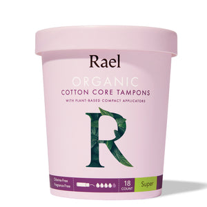 Mother Nature's Best Market Rael Organic Cotton Core Tampons with Plant Based Compact Applicators, Super Cruelty-Free, Vegan