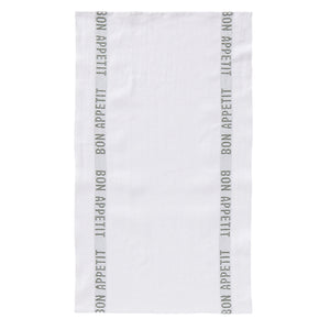 Mother Nature's Best Market Charvet Editions Bon Appetit Tea Towel, White + Khaki Organic, Reusable/Recyclable