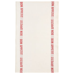 Mother Nature's Best Market Charvet Editions Bon Appetit Tea Towel, White + Red Organic, Reusable/Recyclable