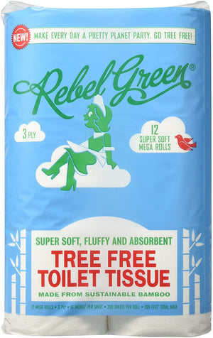 Mother Nature's Best Market Rebel Green Tree Free Toilet Paper 12 Pack Cruelty-Free, Organic, Reusable/Recyclable, Vegan