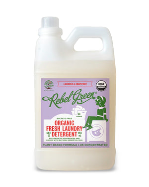 Mother Nature's Best Market Rebel Green Fresh Laundry Detergent: Lavender & Grapefruit Cruelty-Free, Organic, Reusable/Recyclable, Vegan