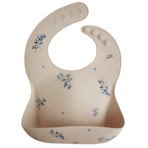 Mother Nature's Best Market Mushie Lilac Flowers Silicone Bib Cruelty-Free, Reusable/Recyclable