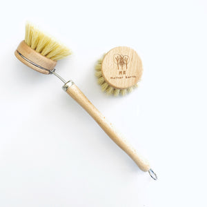 Mother Nature's Best Market Me Mother Earth Beechwood & Sisal Fiber Kitchen Dish Brush with Refill Head Reusable/Recyclable
