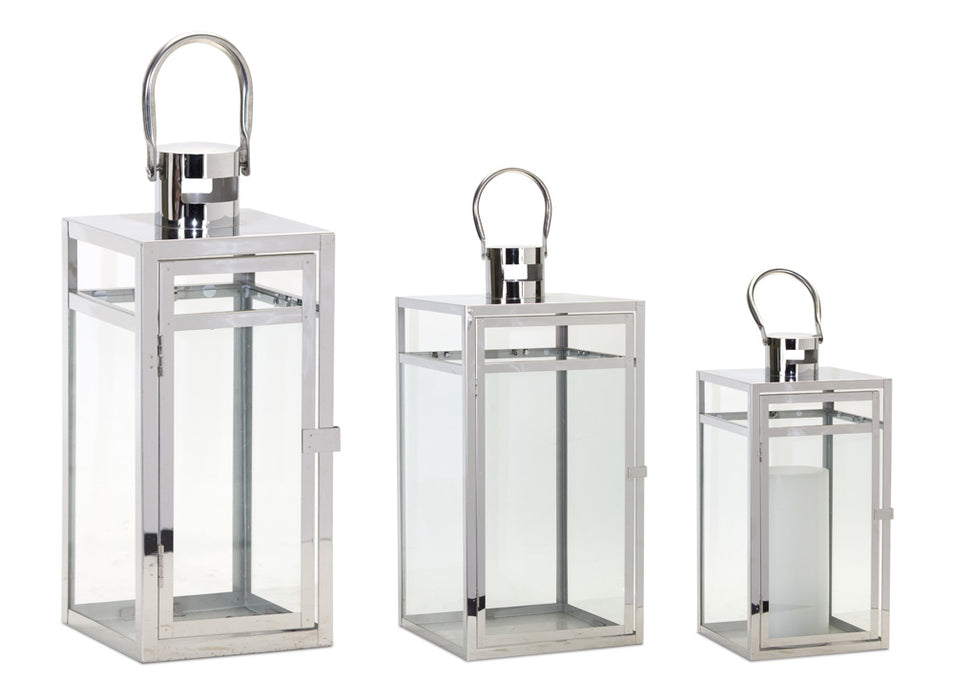 "Lantern (Set of 3) 11.75""H, 16""H, 20.5""H Stainless Steel/Glass"